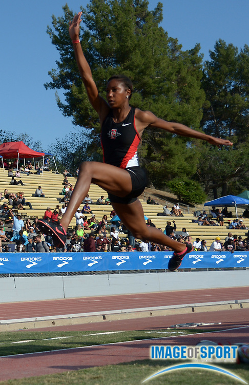 Apr 19, 2014; Walnut, CA, USA; Shanieka Thomas of San Diego State places second in the womens triple jump at 45-0 1/2 (13.73m) in the 56th Mt. San Antonio College Relays.