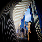 The Oculus, designed by spanish architect Santiago Calatrava at the National September 11 Memorial Plaza in downtown New York. The Oculus covers the atrium and shopping mall that connects to the PATH train and subway as well as the 9/11 Museum.
