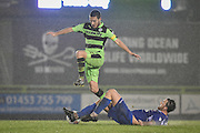 Forest Green Rovers Midfielder, Liam Noble (15) is tackled during the FA Trophy match between Forest Green Rovers and Truro City at the New Lawn, Forest Green, United Kingdom on 10 December 2016. Photo by Adam Rivers.