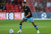 Forest Green Rovers Dominic Bernard(3) warming up during the EFL Cup match between Bournemouth and Forest Green Rovers at the Vitality Stadium, Bournemouth, England on 28 August 2019.