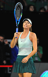 Maria Sharapova is seen in action against Cagla Buyukakcay during TEB BNP Paribas Tennis Stars Series at Istanbul Open 2017, held at Sinan Erdem Sport Center in Istanbul, Turkey, on November 26, 2017. Photo by Aziz Uzun/Depo Photos/ABACAPRESS.COM