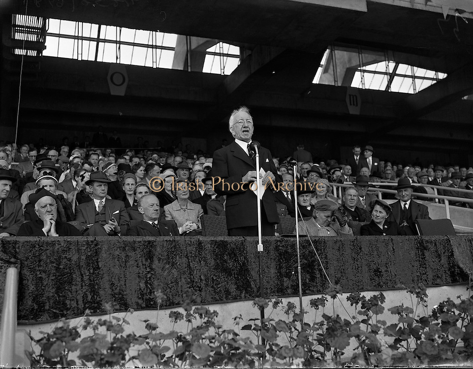 New Hogan Stand and Flag Pageant at Croke Park. Sean T O'Kelly Speaks<br /> Also Railway Cup Final - Munster vs Connaught <br /> 07/06/1959