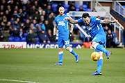 Peterborough Utd's Lee Tomlin (29) gets in a shot during the EFL Sky Bet League 1 match between Peterborough United and Rochdale at London Road, Peterborough, England on 12 January 2019.