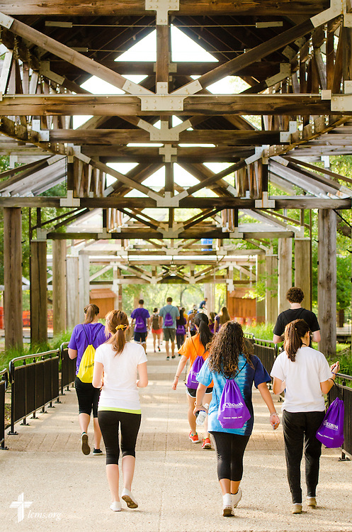 Students walk through campus at Concordia University Texas on Wednesday, July 16, 2014, in Austin, Texas. LCMS Communications/Erik M. Lunsford
