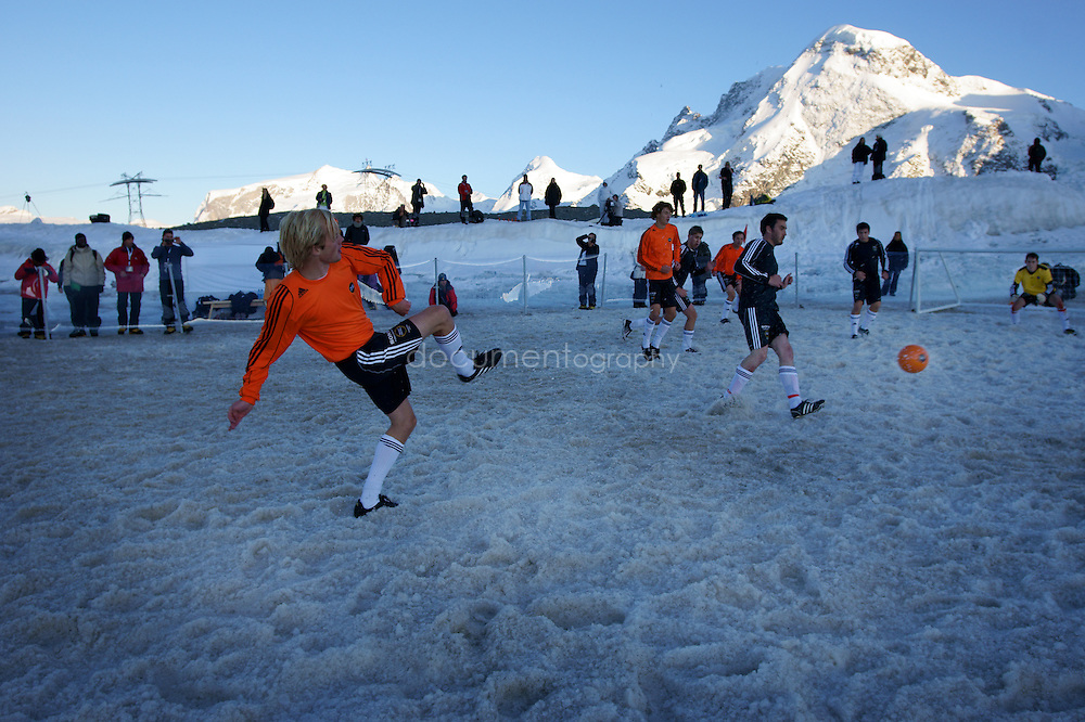SONY DSC.The Sony Twilight final match on the Theodul Glacier between Sony Benelux (Holland) and Sony Playstation (England). The final was 9-4 for Sony Benelux.
