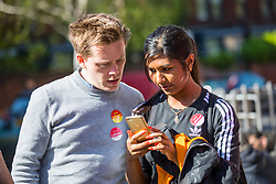 © Licensed to London News Pictures. 03/05/2018. London, UK. Journalist and Labour activist OWEN JONES (left) and journalist and campaigner Ash Sarker prepare to speak outside Pimlico Tube Station as part of 'Unseat Westminster Tory Council'. The gathering was arranged to round up volunteers to speak to Westminster residents who said they would vote for labour. Photo credit : Tom Nicholson/LNP