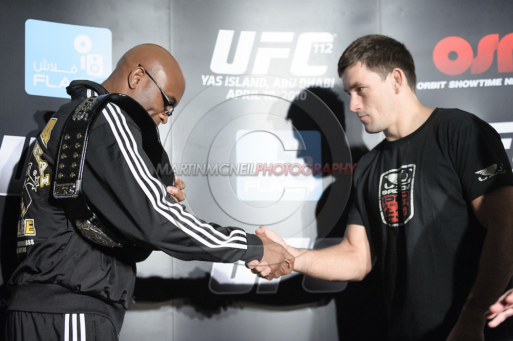 "ABU DHABI, UNITED ARAB EMIRATES, APRIL 7, 2010: Anderson Silva and Demian Maia are pictured during the pre-fight press conference for ""UFC 112: Invincible"" at the Rotana Hotel in Abu Dhabi on April 7, 2010. (Martin McNeil)"