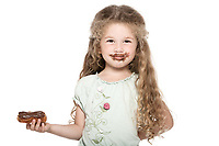 caucasian little girl portrait isolated studio on white background