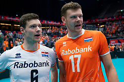 13-09-2019 NED: EC Volleyball 2019 Netherlands - Montenegro, Rotterdam<br /> First round group D Netherlands win 3-0 / Just Dronkers #6 of Netherlands, Michael Parkinson #17 of Netherlands