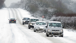 © under license to London News Pictures.  18/12/2010. Traffic battles through heavy snow near Pangbourne, Berkshire today (18/12/2010).  Severe weather is expected to hit the whole of the UK this weekend. Photo credit should read Sam Long/ London News Pictures