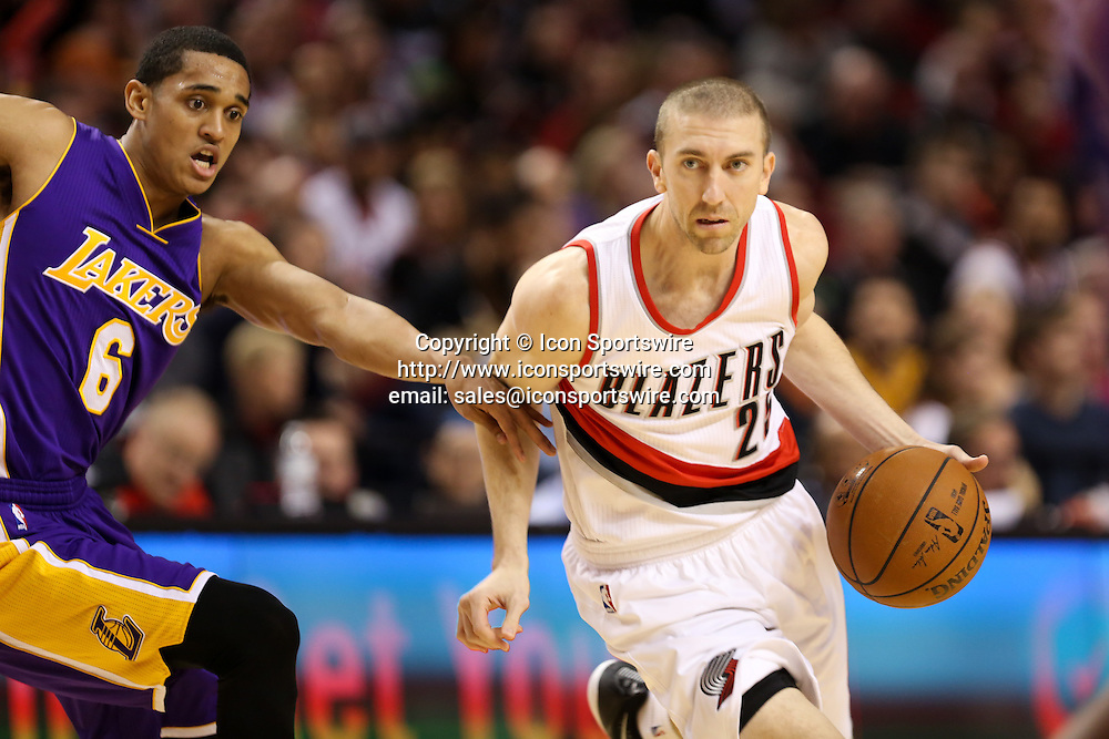 Feb. 11, 2015 - STEVE BLAKE (25) drives to the hoop. The Portland Trail Blazers play the Los Angeles Lakers at the Moda Center on February 11, 2015