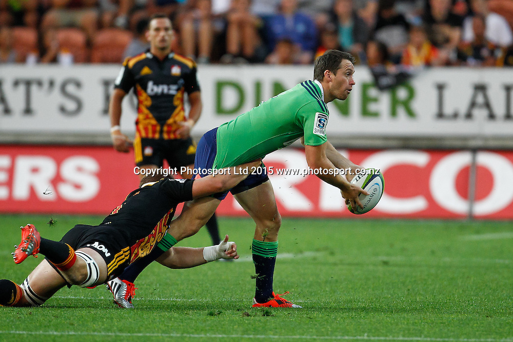 Highlander's Ben Smith in action during the Super 15 Rugby Match - Chiefs v Highlanders, 6 March 2015 at Waikato Stadium, Hamilton, New Zealand on Friday 6 March 2015.  Photo:  Bruce Lim / www.photosport.co.nz
