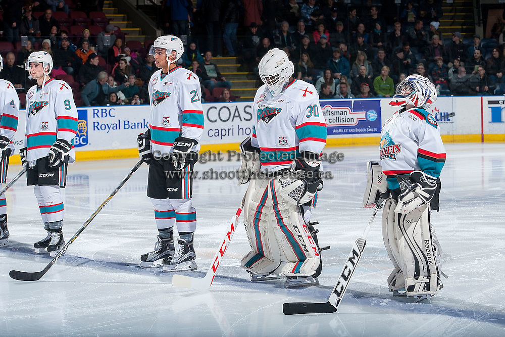 KELOWNA, CANADA - DECEMBER 28: Ben Harris, the Pepsi Save-On Foods player of the game, lines up with Michael Herringer #30, Devante Stephens #21 and Tanner Wishnowski #9 of Kelowna Rockets on December 28, 2015 at Prospera Place in Kelowna, British Columbia, Canada.  (Photo by Marissa Baecker/Shoot the Breeze)  *** Local Caption *** Ben Harris; Pepsi Player; Michael Herringer; Devante Stephens; Tanner Wishnowski;