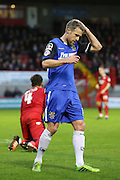 Michael Tonge of Stevenage with a missed chance during the Sky Bet League 2 match between Crawley Town and Stevenage at the Checkatrade.com Stadium, Crawley, England on 26 December 2015. Photo by Phil Duncan.