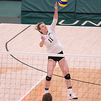 3rd year Right-Side hitter Haley Wagar in action during Women's Volleyball home game on February 9 at Centre for Kinesiology, Health and Sport. Credit: Arthur Ward/Arthur Images