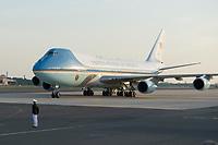18 JUN 2013, BERLIN/GERMANY:<br /> Die Airfoce Number One, eine umgebaute Langstreckenversionen der Boeing 747-200B mit der USAF-Bezeichnung VC-25A, das Flugzeug des Praesidenten der USA, Barack Obama, waehrend seiner Ankunft auf dem militaerischen Teil des Flughafens Berlin Tegel, Besuch des Praesidenten der Vereinigten Staaten von Amerika in Deutschland<br /> IMAGE: 20130618-01-009<br /> KEYWORDS: Präsident U.S.A., Flugzeug