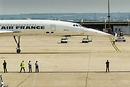 An Air France Concorde chartered for a last public local flight leaves the gate for take off. Paris-CDG, 31 May 2003.