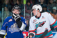 KELOWNA, CANADA - JANUARY 30: Rodney Southam #17 of Kelowna Rockets chats with Alex Forsberg #16 of Victoria Royals at the face off on January 30, 2016 at Prospera Place in Kelowna, British Columbia, Canada.  (Photo by Marissa Baecker/Shoot the Breeze)  *** Local Caption *** Rodney Southam; Alex Forsberg;