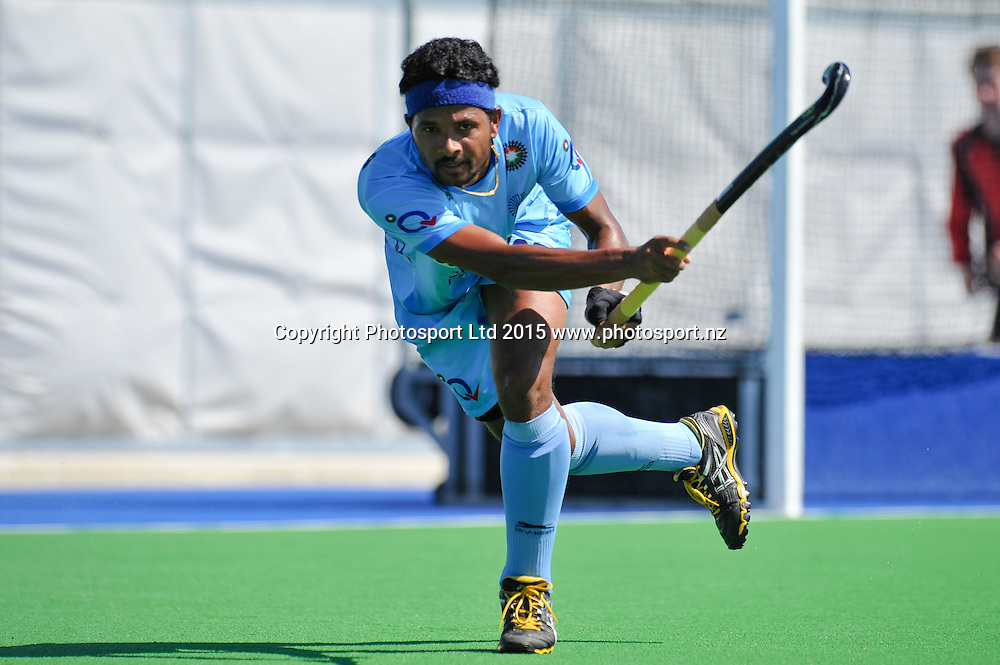Birendra Lakra of India during the Mens Hockey International, 2015 South Island Tour game between the New Zealand Black Sticks V India, at Marist Park, Christchurch, on the 11th October 2015. Copyright Photo: John Davidson / www.photosport.nz