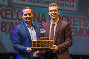 KELOWNA, CANADA - MARCH 18:  Unsung Hero Award Sponsored by Grant Thornton.  The award was presented by Bryn Gilbert to Gordie Ballhorn at the Kelowna Rockets Awards Ceremony on March 18, 2018 at The Kelowna Community Theatre  in Kelowna, British Columbia, Canada.  (Photo By Cindy Rogers/Nyasa Photography,  *** Local Caption ***