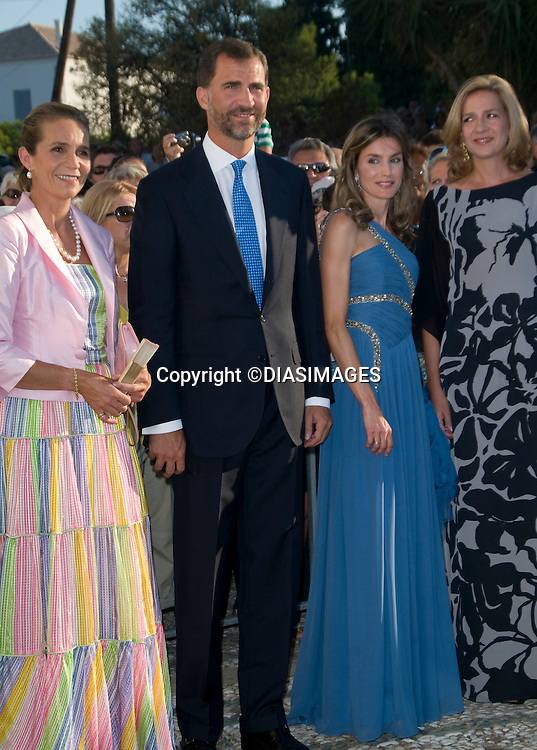 "PRINCE NIKOLAOS AND TATIANA BLATNIK WEDDING_Crown Prince Felipe, Crown Princess Letizia, Infanta Elena, Infanta Cristina.St Nikolaos Church, Spetses, Greece_25/08/2010.Mandatory Credit Photo: ©DIASIMAGES..**ALL FEES PAYABLE TO: ""NEWSPIX INTERNATIONAL""**..IMMEDIATE CONFIRMATION OF USAGE REQUIRED:.Newspix International, 31 Chinnery Hill, Bishop's Stortford, ENGLAND CM23 3PS.Tel:+441279 324672  ; Fax: +441279656877.Mobile:  07775681153.e-mail: info@newspixinternational.co.uk"