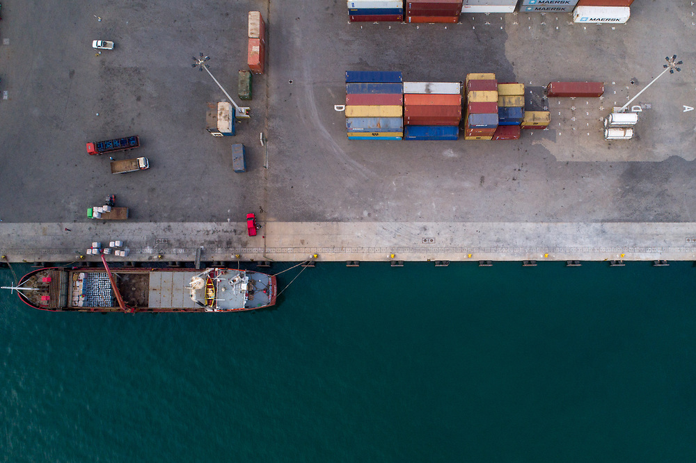 Drone photography of the port in Praia, Cabo Verde.