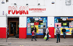 Polski supermarket, Polish shop on Gallowgate in East End of Glasgow, Scotland, United Kingdom