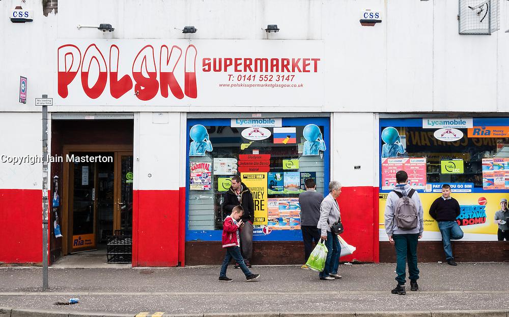 Polski supermarket, Polish shop on Gallowgate in East End of Glasgow, Scotland, United Kingdom