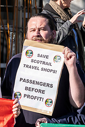 Pictured: <br />Richard Leonard, leader of Scottish labour, Patrick Harvie, co-leader of the Scotrtish Greens, joined other MSPs and memberes of the RMT union today to protest against Abellio contract. The rail union were demonstrating outside the Scottish Parliament in a call for the termination of privateer Abellio ScotRail's contract.<br /><br />Ger Harley   EEm 2 October 2019