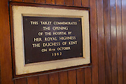 A photo of the tablet commemorating the opening of Mulago Hospital in Uganda by Her Royal Highness The Duchess of Kent on October 16th 1962.