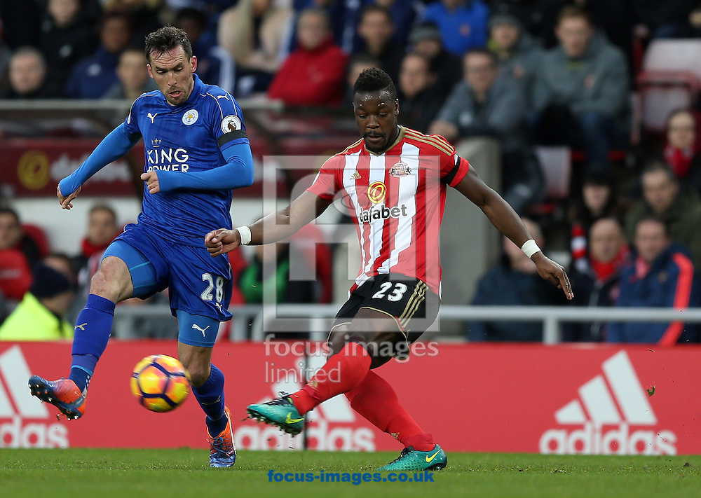 Lamine Kone of Sunderland and Christian Fuchs of Leicester City during the Premier League match at the Stadium Of Light, Sunderland<br /> Picture by Christopher Booth/Focus Images Ltd 07711958291<br /> 03/12/2016