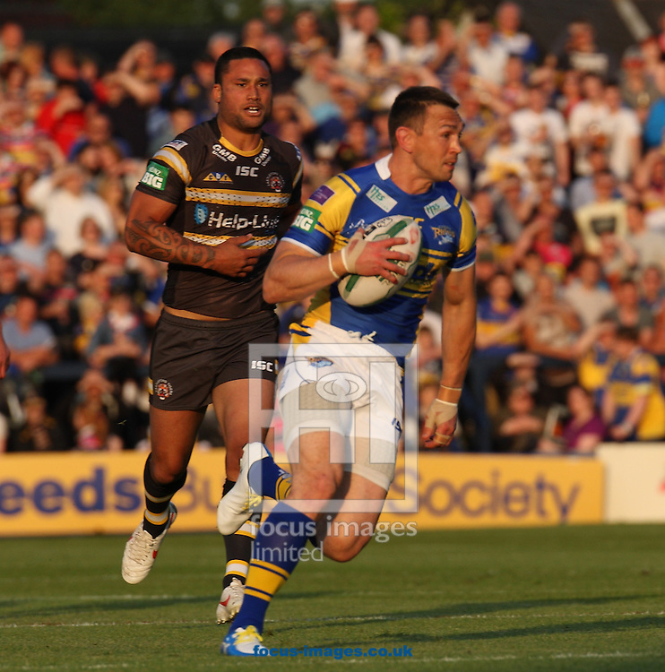 Picture by Stephen Gaunt/Focus Images Ltd +447904 833202<br /> 07/06/2013<br /> Kevin Sinfield (Captain) of Leeds Rhinos makes a break against Castleford Tigers during the Super League match at Headingley Carnegie Stadium, Leeds.