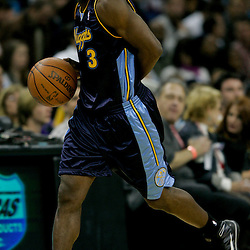 Dec 18, 2009; New Orleans, LA, USA; Denver Nuggets guard Ty Lawson (3) drives down the court during the second half against the New Orleans Hornets at the New Orleans Arena. The Hornets defeated the Nuggets 98-92. Mandatory Credit: Derick E. Hingle-US PRESSWIRE