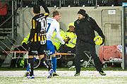 G&Ouml;TEBORG - 2018-02-18: Andreas Alm, huvudtr&auml;nare i BK H&auml;cken h&aring;ller undan bollen fr&aring;n Anton Maikkula i IFK V&auml;rnamo under matchen i Svenska Cupen, grupp 4, mellan BK H&auml;cken och IFK V&auml;rnamo den 18 februari 2018 p&aring; Bravida Arena i G&ouml;teborg, Sverige.<br /> Foto: Anders Ylander/Ombrello<br /> ***BETALBILD***