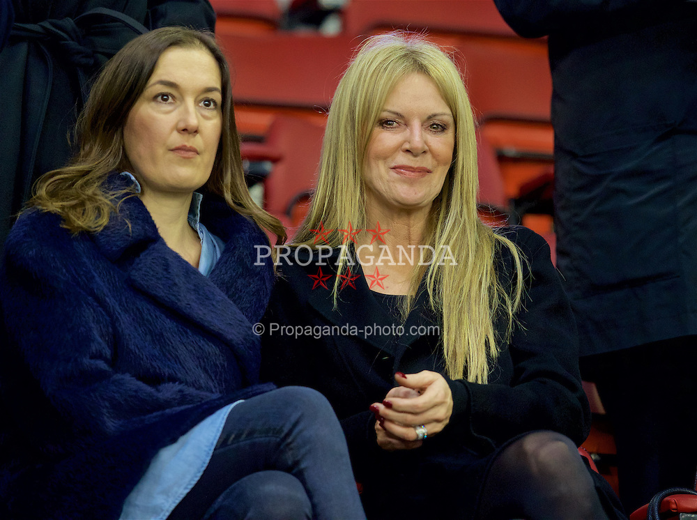LIVERPOOL, ENGLAND - Thursday, March 10, 2016: Jürgen Kopp's wife Ulla Sandrock [R] with a friend during the UEFA Europa League Round of 16 1st Leg match between Liverpool and Manchester United at Anfield. (Pic by David Rawcliffe/Propaganda)