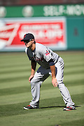ANAHEIM, CA - AUGUST 21:  Lonnie Chisenhall #8 of the Cleveland Indians warms up before the game against the Los Angeles Angels of Anaheim on Wednesday, August 21, 2013 at Angel Stadium in Anaheim, California. The Indians won the game 3-1. (Photo by Paul Spinelli/MLB Photos via Getty Images) *** Local Caption *** Lonnie Chisenhall