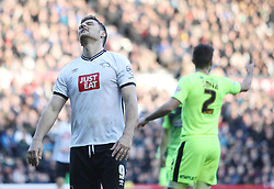 Chris Martin of Derby County looks dejected after missing a goal scoring opportunity - Mandatory byline: Jack Phillips/JMP - 05/03/2016 - FOOTBALL - iPro Stadium - Derby, England - Derby County v Huddersfield Town - Sky Bet Championship