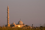 Israel, Coastal Plains, Jisr Az-Zarqa The Mosque at sunset