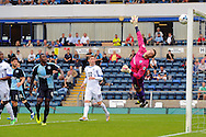 Matt Ingram of Wycombe Wanderers watches as a shot comes back off of the crossbar during the Sky Bet League 2 match at Adams Park, High Wycombe<br /> Picture by Seb Daly/Focus Images Ltd +447738 614630<br /> 06/09/2014