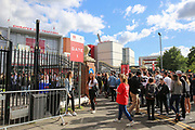 Fans queue up before the One Love Manchester Concert at the Emirates Old Trafford Cricket Ground, Manchester, United Kingdom on 4 June 2017. Photo by Phil Duncan.