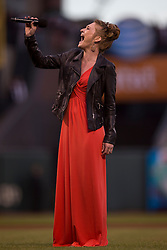SAN FRANCISCO, CA - SEPTEMBER 09: Stevie Rae Stephens performs the national anthem before the game between the San Francisco Giants and the Colorado Rockies at AT&T Park on September 9, 2013 in San Francisco, California. The San Francisco Giants defeated the Colorado Rockies 3-2 in 10 innings. (Photo by Jason O. Watson/Getty Images) *** Local Caption *** Stevie Rae Stephens