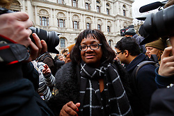 © London News Pictures. FILE PIC 28/11/2015. London, UK. DIANE ABBOTT attending a protest against the bombing of Syria outside Downing Street in London. Reports have suggested that Diane Abbott might be promoted to the shadow cabinet in the weeks expected reshuffle. Photo credit: Tolga Akmen/LNP