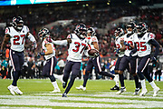 Houston Texans Defensive Back Jahleel Addae (37) celebrates intercepting the ball during the International Series match between Jacksonville Jaguars and Houston Texans at Wembley Stadium, London, England on 3 November 2019.