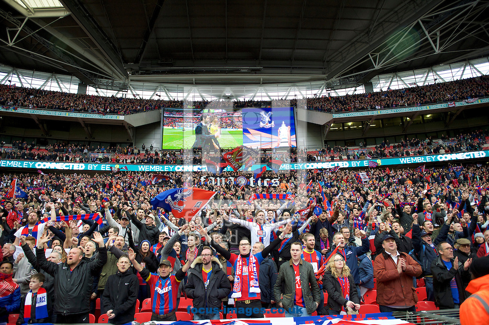 Crystal Palace fans celebrate their win in the FA Cup semi-final at Wembley Stadium, London<br /> Picture by Alan Stanford/Focus Images Ltd +44 7915 056117<br /> 24/04/2016