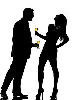 one caucasian couple man and woman drinking flirting partying in studio silhouette isolated on white background