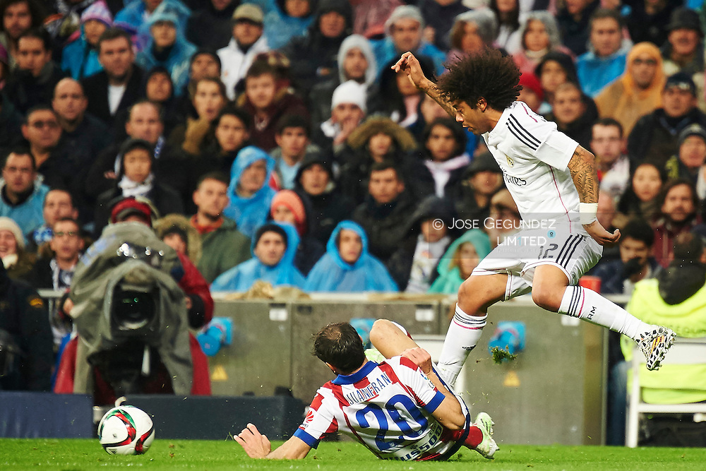Marcelo during the Copa del Rey, round of 8 match between Real Madrid and Atletico de Madrid at Estadio Santiago Bernabeu on January 15, 2015 in Madrid, Spain.