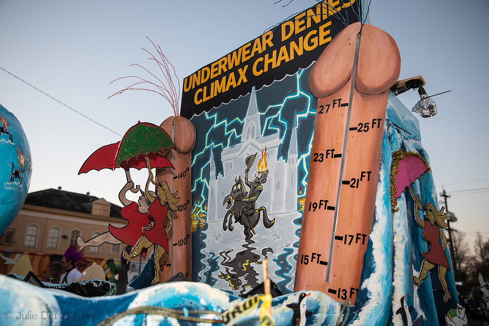 Climate denier float in the Krewe du Vieux, a Mardi Gras Parade in New Orleans know for its raunchy satire..