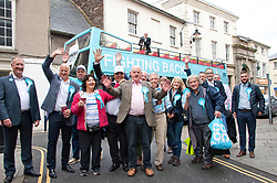 © Licensed to London News Pictures. 20/07/2019. Brecon, Powys, Wales, UK. The Brexit Party, with  Brecon & Radnorshire constituency candidate Des Parkinson (centre) bring their campaign to the small Welsh market town of Brecon in Powys, UK. in a bid to win the seat in the forthcoming Brecon & Radnorshire constituency by-election on the 1st August 2019. The Brexit Party was founded by former UKIP economics spokeswoman, Catherine Blaiklock in January 2019, and is led by Nigel Farage. The Brexit party has 29 Members of the European Parliament (MEPs) and four Welsh Assembly Members. The party's first major electoral success was winning the 2019 European Parliament election in the United Kingdom after four months in existence. Photo credit: Graham M. Lawrence/LNP