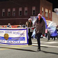 The Hamilton High School band marches in the Amory Christmas parade.