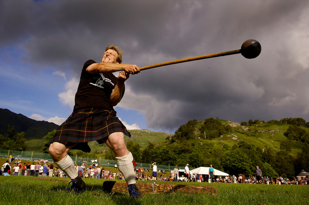 The hammer throw competition at the Glenfinnan Highland Games and Gathering at Glenfinnan.